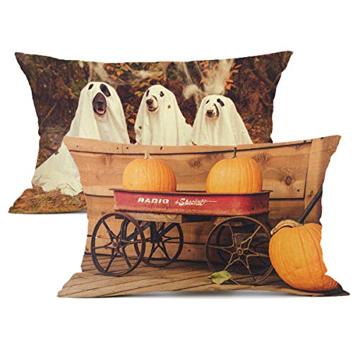 Redland Art 2Pcs Halloween Pumpkin Pillow, Thriller Dog Cotton Linen Throw Pillow Covers Cushion Cover Case Car Sofa Decorative 12 x 20 Inch