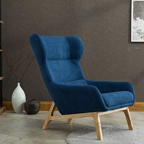Irene House Contemporary Soft Brush Fabric Reading Chair Height Back Accent Leisure Chair,Living Room,Bedroom Arm Chair (Dark Blue)