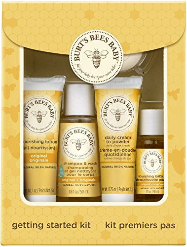 Burt's Bees Baby Getting Started Gift Set, 5 Trial Size Baby Skin Care Products - Lotion, Shampoo & Wash, Daily Cream-to-Powder, Baby Oil and Soap - Baby Cream Bath