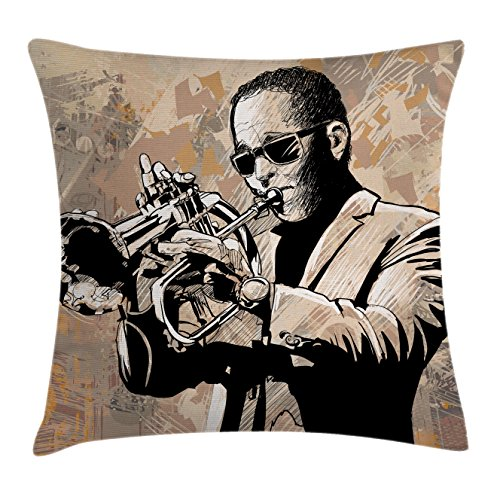 Jazz Music Decor Throw Pillow Cushion Cover by Ambesonne, Grunge Style Illustration of an African Musician with Sunglasses Trumpet , Decorative Square Accent Pillow Case, 20 X 20 Inches, Beige - African Sunglasses