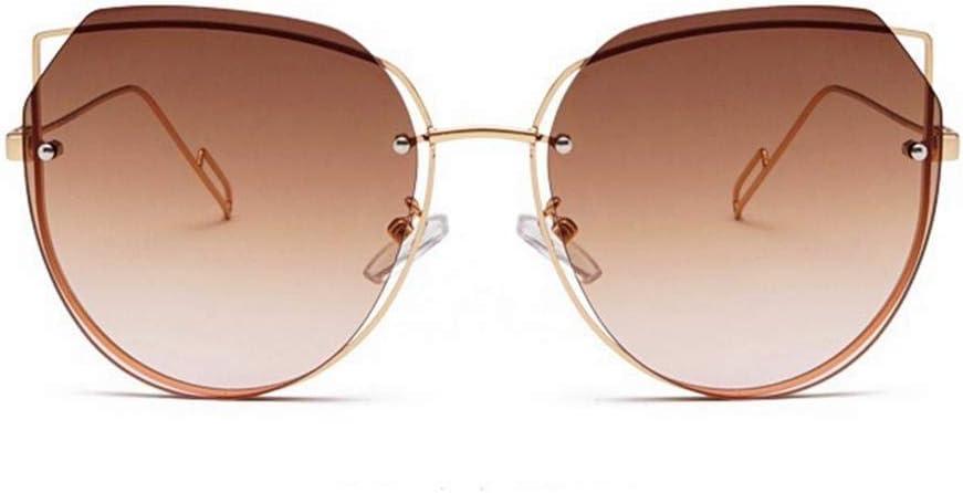 CCTYJ Gafas de Sol Simples Protección UV400 Gafas de Sol de Metal sin Marco para Hombres y Mujeres