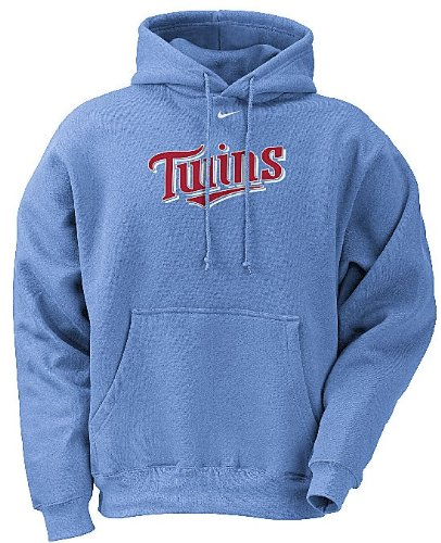 Minnesota Twins MLB Light Blue Embroidered Tackle Twill Hooded Sweatshirt By Nike (S=36) - Nike Minnesota Twins Light