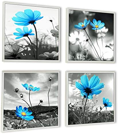 HLJ ART Modern Salon Theme Black and White Peacock Blue Vase Flower Abstract Painting Still Life Canvas Wall Art for Home Decor 12x12inches 4pcs Set Outer Frames, 12x12inchx4pcs