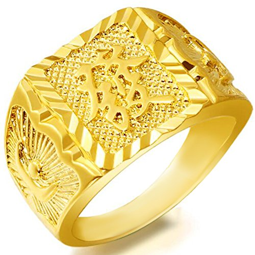 Chinese Character Ring - Jude Jewelers Stainless Steel Gold Plated Luxurious Chinese Character Style Rich Wealth Ring (Gold Wealth, 10)