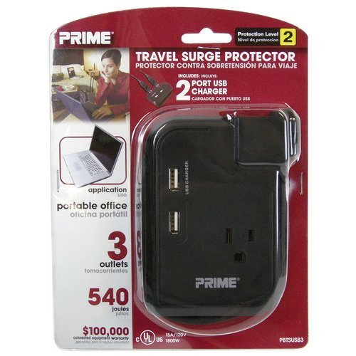Prime Wire & Cable Travel Surge Protector, Model# PBTSUSB3 by Prime Wire and Cable, Inc by Prime Wire and Cable, Inc