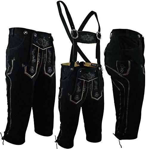 PAULGOS Trachten Lederhose --- Echtes Leder --- Kniebund --- Schwarz ---, Größe:50