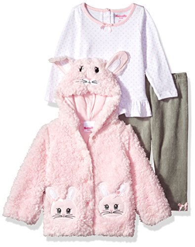 (Nannette Baby Girls' 3 Piece Hooded Faux Fur Jacket Set with Tee and Pant, Pink,)