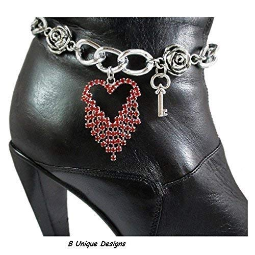 Add Rhinestones - Sparkling Red Crystal Heart Boot Bracelet Bling Chain Rhinestones Add Key Love Motorcycle Biker or Western Cowgirl Accessory Add Personalized Name or Message