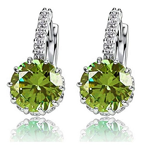1-pair-fashion-women-elegant-crystal-rhinestone-silver-plated-ear-stud-earrings-deep-green
