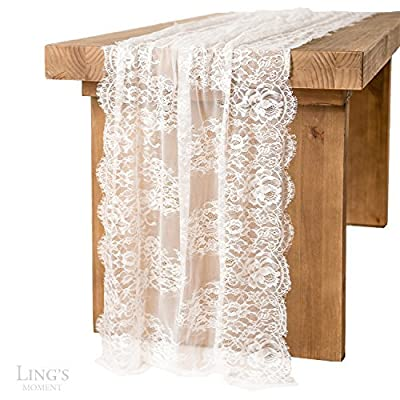 Ling's moment 32x120 Inches White Lace Table Runner Overlay Rustic Chic Wedding Reception Table Decor Boho Party Decoration Baby Bridal Shower Decor - Size: Approx. 32 x 120 inches (76 x 300 cm) Material: High quality and soft touch lace. Package: Lace Table Runner x1 + Lace Cord x2 + Laundry Bag x1 - table-runners, kitchen-dining-room-table-linens, kitchen-dining-room - 51ex2hhmZpL. SS400  -