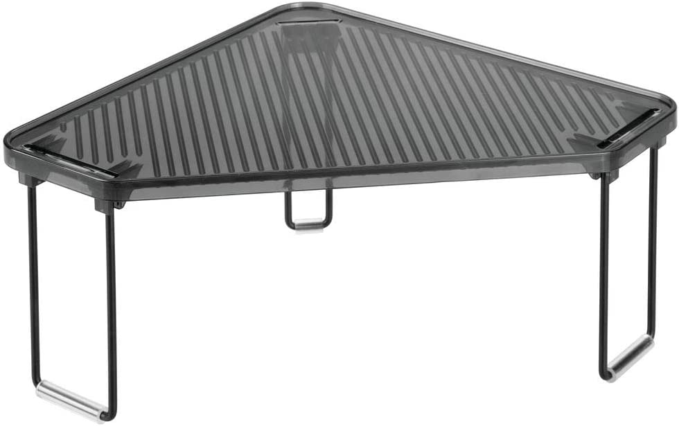 schwarz und grau freistehende stapelbare Geschirrablage mDesign K/üchenregal Tellerregal f/ür Arbeitsplatte und K/üchenschr/änke