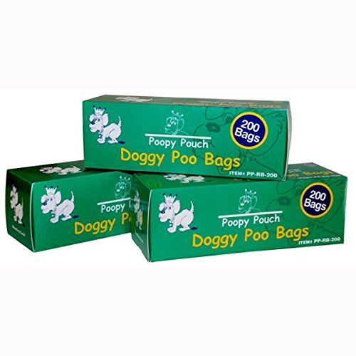 """Doggie Pot Litter Bag Refills. 8"""" x 13"""" Unscented. 10 boxes of 200, 2,000 bags"""