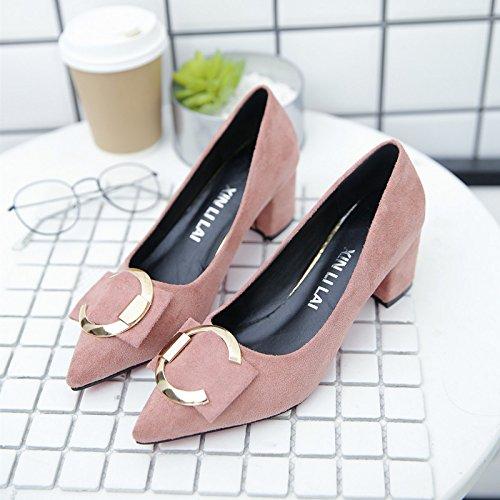 metallo rotonda scarpe rosa bocca Joker corte lavoro da femmina 5 tacco low Qiqi un con heeled nbsp;cm femmina scarpe nero superficiale scarpe fibbia Xue 34 con singolo con HqxpwAEfR