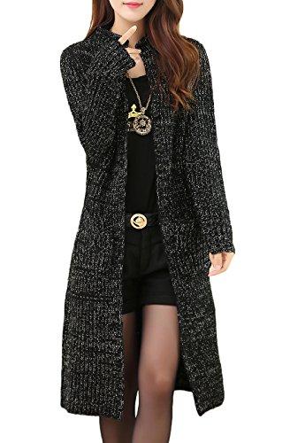 KUBITU Womens Classic Button Down Pocket Knit Long Cardigan Sweater Coat (X-Large, Black) (Long Sweater Coat)