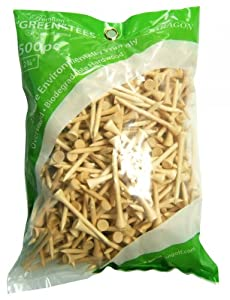 """Golf Tees 2 3/4""""-Inch Natural Wood 500 Pack by Paragon Sports from Paragon Golf"""
