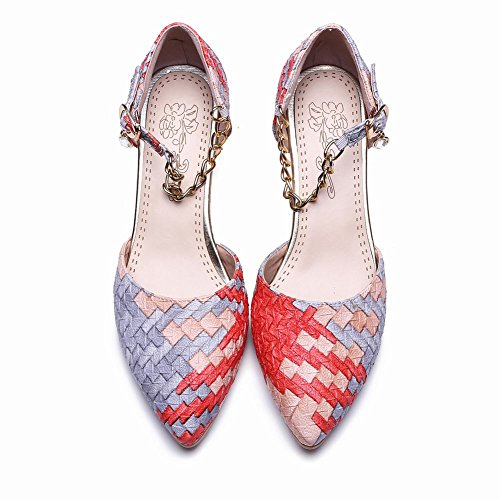 Mee Shoes Damen süß Kitten-heel ankle strap Pumps Rot