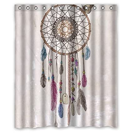 Colorful Dream Catcher Retro Vintage Native American Style Feathers Waterproof Polyester Fabric Bathroom Shower Curtain 60quot