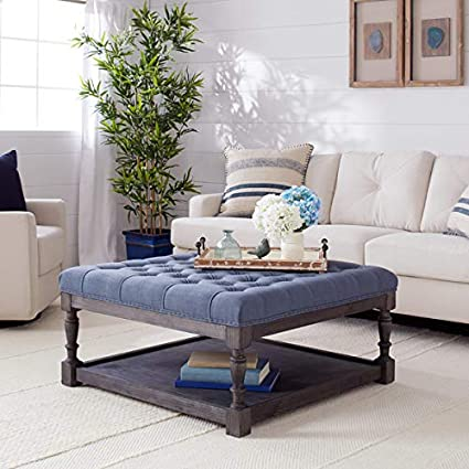 Outstanding Amazon Com Stones Stripes Creston Navy Blue Linen Tufted Camellatalisay Diy Chair Ideas Camellatalisaycom