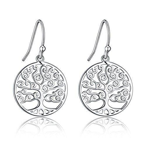Sterling Silver Filigree Tree Of Life Design Dangle Drop (Silver Filigree Tree)
