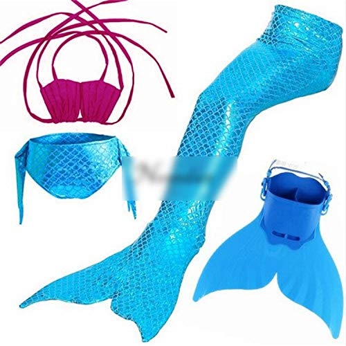 Kids Swimming Mermaid Tail with Monofin Swimsuit Costume CClothing,Style 5,7Th Tail ()