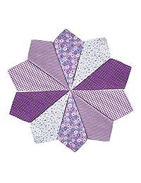 Houlife 5-10 Pieces 100% Cotton Purple Floral Printed Handkerchief Elegant Hankies for Women Ladies Girls Wedding Party