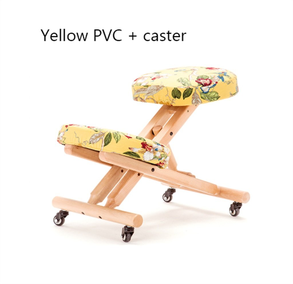 ソリッドウッド正しい座っている姿勢膝の椅子椅子に乗るヨガのコンピュータの椅子 ( 色 : イエロー いえろ゜ ) B07BLPJV5C イエロー いえろ゜ イエロー いえろ゜