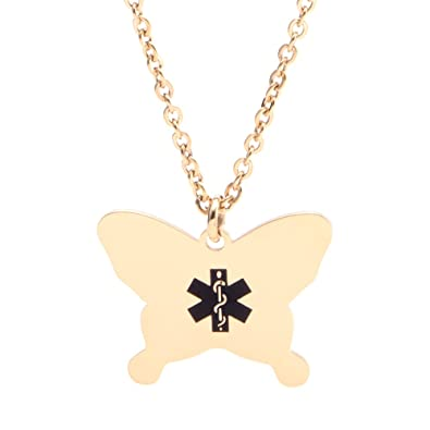 LinnaLove Butterfly Medical ID Necklace charm for Girl & Boy (Free engraving) r2QS27MEE