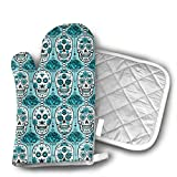 Cheap Turquoise Sugar Skulls Microwave Glove Thicken Insulation Pads Kitchen Cotton Oven Mitts Heat Resistant Oven Mitts with Disk Pad for Kitchen Cooking Baking
