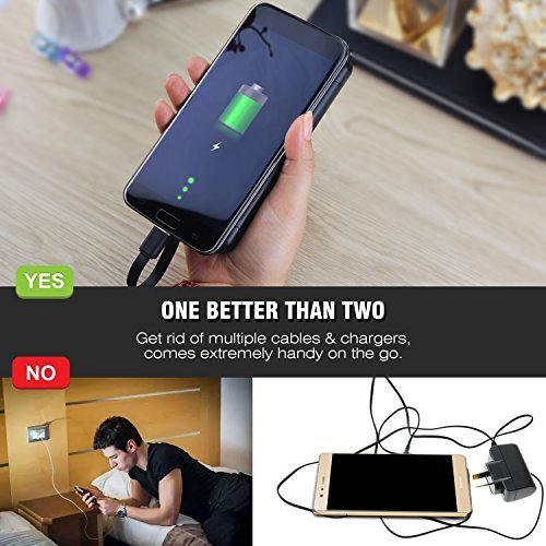 Portable Battery Charger - Vastti 5000mAh Battery Backup Charger with Built-in Micro USB Cable,Pocket Joice with Dual Ports for Samsung S7, HTC, LG and More