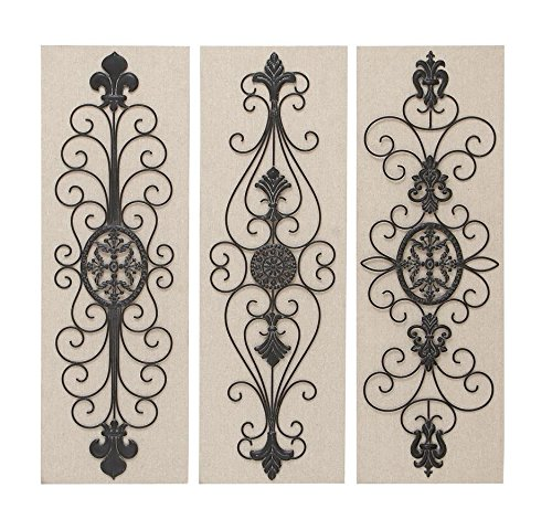 Deco 79 Wood Metal Decor/Wall Decor, 36 by 12-Inch , 3 Assorted