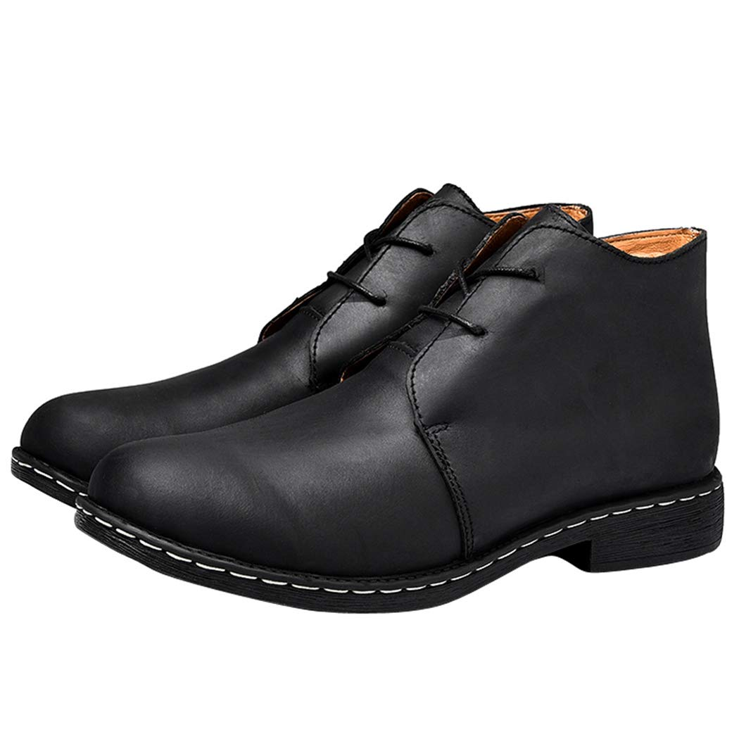 Black LYMYY Men's shoes Men Leather Ankle Boots Vintage Lace-ups Boots Casual Chelsea Boots Trekking and Hiking Footwear Martin Boots,Black,43EU