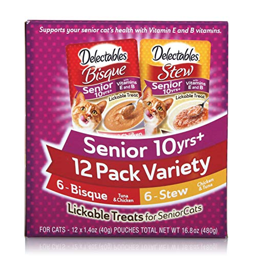 Delectables Senior Stew & Bisque Lickable Wet Cat Treats Variety Pack