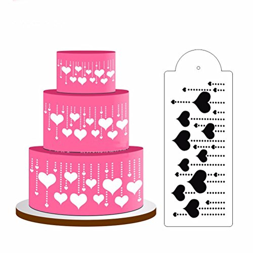 Great Deal Store Pack of 2 Hanging Heart Cake Stencil Fondant Design Decorating Craft Cookie Baking Tool