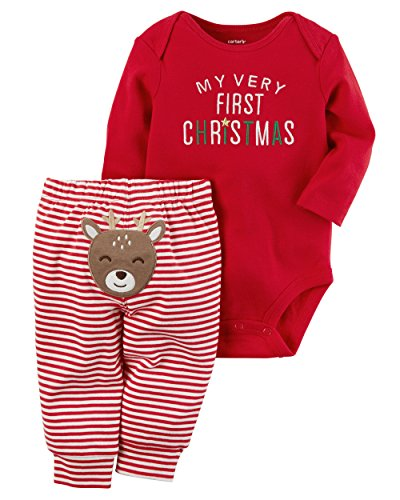 Christmas Bodysuit (Carter's Baby My 1st Christmas Reindeer 2-Piece Bodysuit Pants Set 12 Months)
