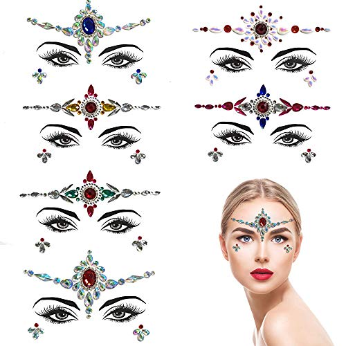 ZLXIN Face Gems Temporary Tattoo Stickers Acrylic Crystal Glitter Stickers Waterproof Face Jewels Rainbow Tears Rhinestone Eye Decoration for Party, Rave Festival, Dress-up (6 Pcs A Set) (Style 5) -