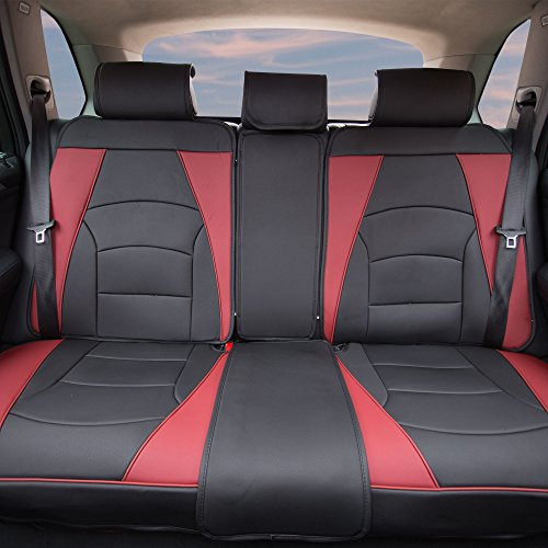 FH Group PU205013BURGUNDYBLACK Bench PU205BURGUNDYBLACK013 Ultra Comfort Leatherette Rear Seat Cushions Burgundy and Black