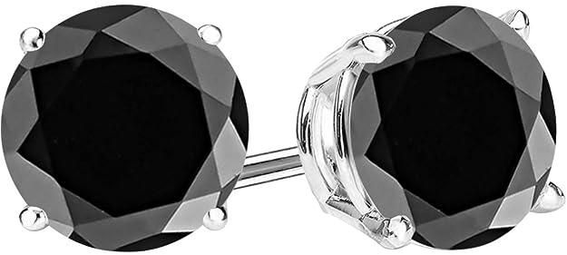 1/2-10 Carat Total Weight Black Diamond Stud Earrings 4 Prong Push Back