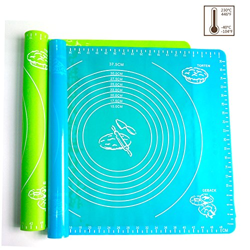 Xixihaha Silicone Baking Mat Pastry Rolling with Measurements 15.7''X19.7'' Reusable Non-Stick Silicone Baking Mat Set of 2(Blue&Green by Xixihaha