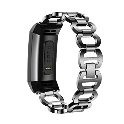 Amazon com: Hunputa Fitbit Charge 3 Bands,Replacement Stainless