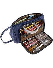 Pennenmapje met grote capaciteit, multifunctionele pennenzak voor briefpapier canvas ritssluiting pennenzak make-up tas geschikt voor school & kantoor jongens meisjes (blauw)