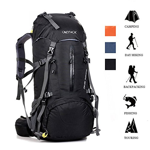 ONEPACK 50L(45+5) Hiking Backpack Waterproof Backpacking Bag Outdoor Sport Daypack for Climbing Mountaineering Camping Fishing Travel Cycling Skiing with Rain Cover