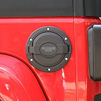 Gas Tank Cap Cover Fuel Filler Cover Door for 2007-2016 Jeep Wrangler JK 2-Door 4-Door A