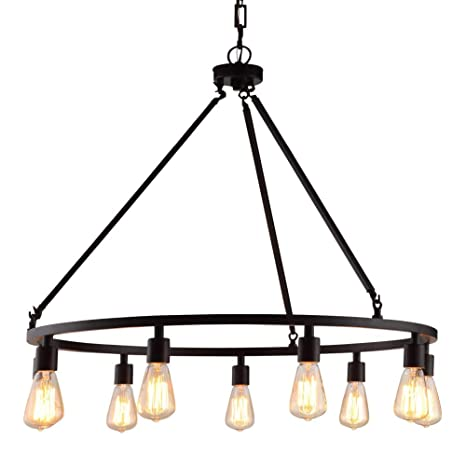 Rustic Chandelier Centerpiece With Bulbs For High And Low Ceiling Rooms