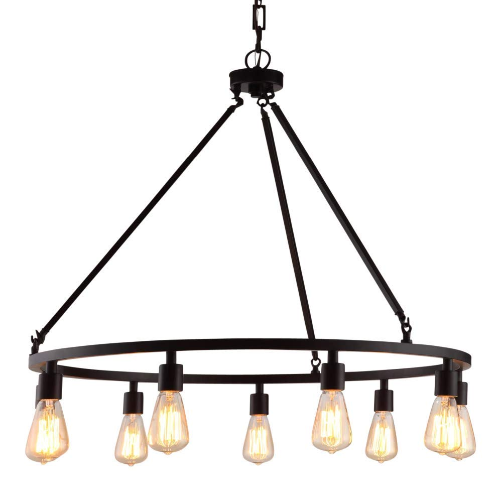 Rustic Chandelier Centerpiece With Bulbs For High And Low Ceiling Rooms Circular Light Fixture