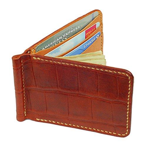 Leather Money Clip Wallet, Crocodile Grain, Mahogany / Tan, (Mahogany Money Clip)
