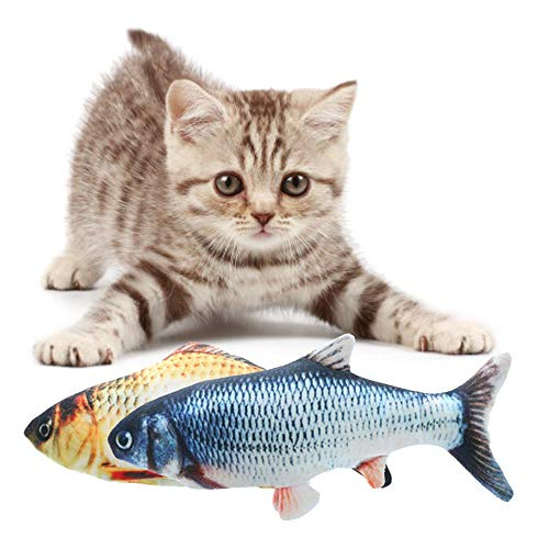 Realistic Plush Simulation Electric Doll Fish,Cat Kicker Fish Toy,Cat Wagging Fish Toys,Funny Interactive Pets Chew Bite Supplies Fish Flop Cat Toy Catnip Toys for Biting,Chewing And Kicking,2Pcs from MOGOI