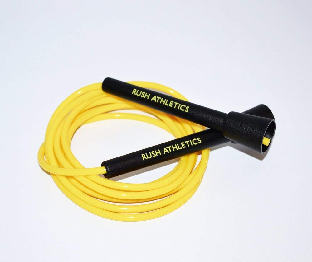 RUSH ATHLETICS Speed Rope Black/Yellow - Skipping Rope, Best for Boxing MMA Cardio Fitness Training - Speed - Adjustable 11ft Jump Rope Sold