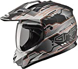 Gmax GM11D Dual Sport Adventure Full Face Helmet (Flat Black/Hi-Viz Orange, Small)