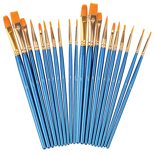 Brushes Set, Round Pointed Tip Artist Paintbrushes (Blue, 20)