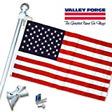 Valley Forge, American Flag Kit 3'x5′ Sewn, Grommeted, DuraTex Flag 6 ft Aluminum Pole, Made in USA